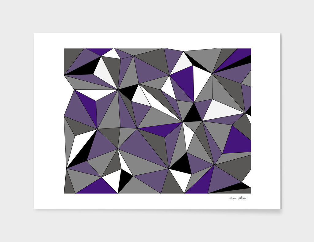 Abstract geometric pattern - purple, gray, black and white.
