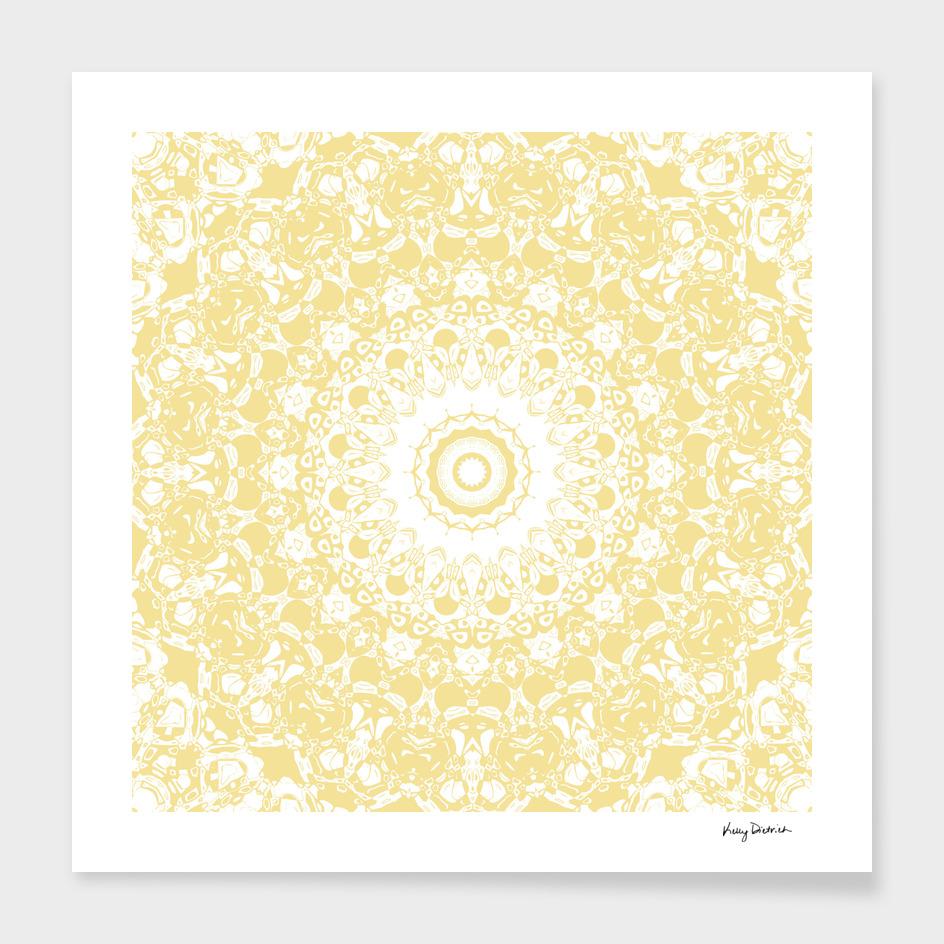 White Lace Mandala on Sunshine Yellow