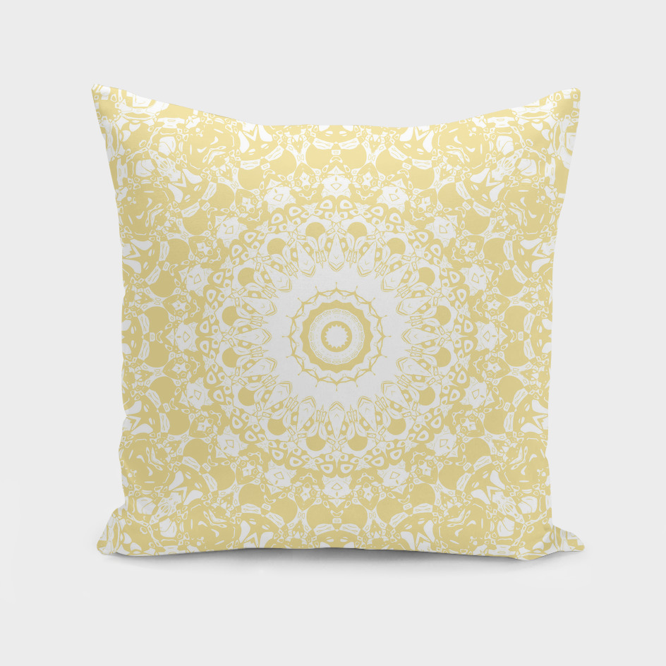 White Lace Mandala on Sunshine Yellow