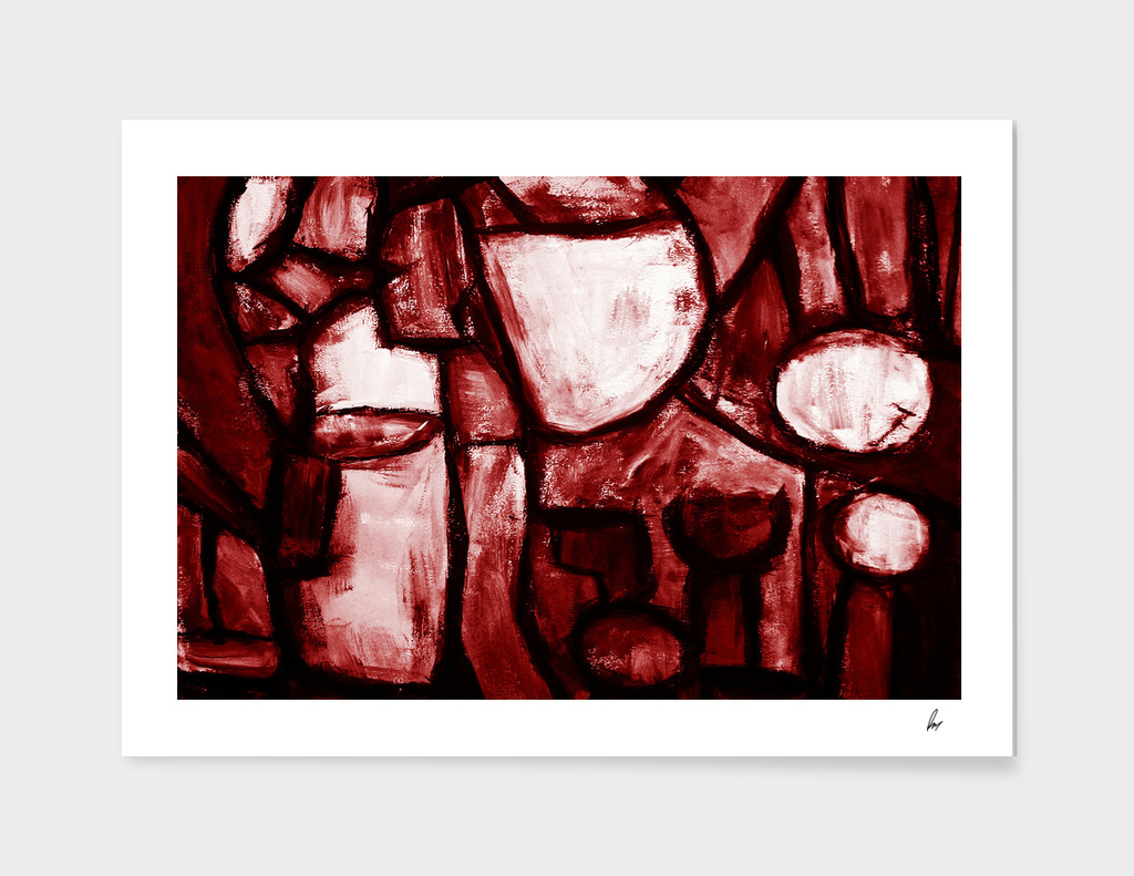 Rough Abstract Red Painting