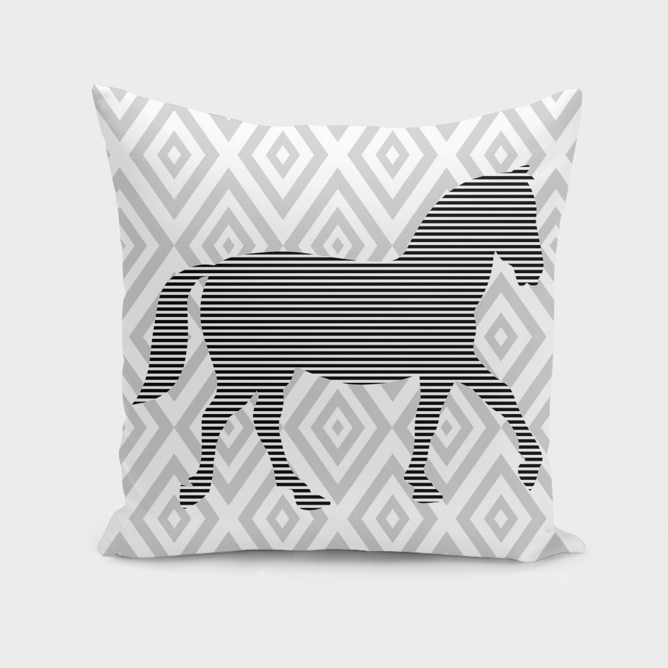 Horse - geometric pattern - gray and white.