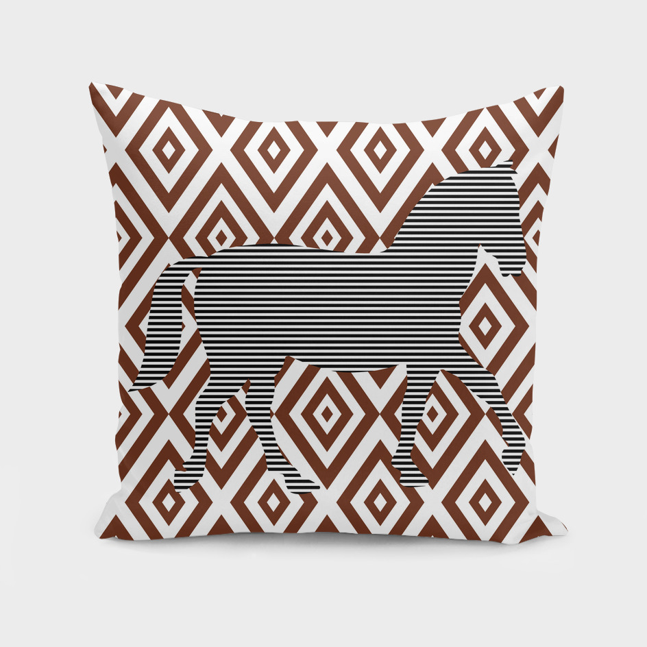 Horse - geometric pattern - brown and white.