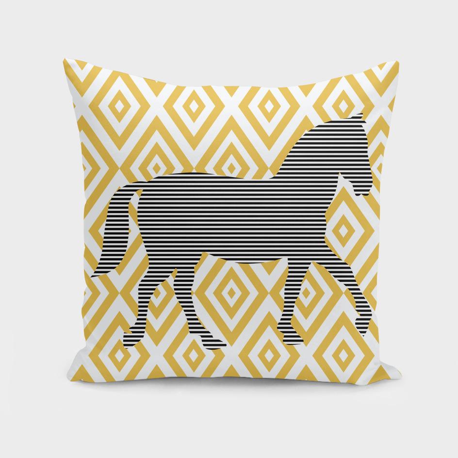 Horse - geometric pattern - beige and white.