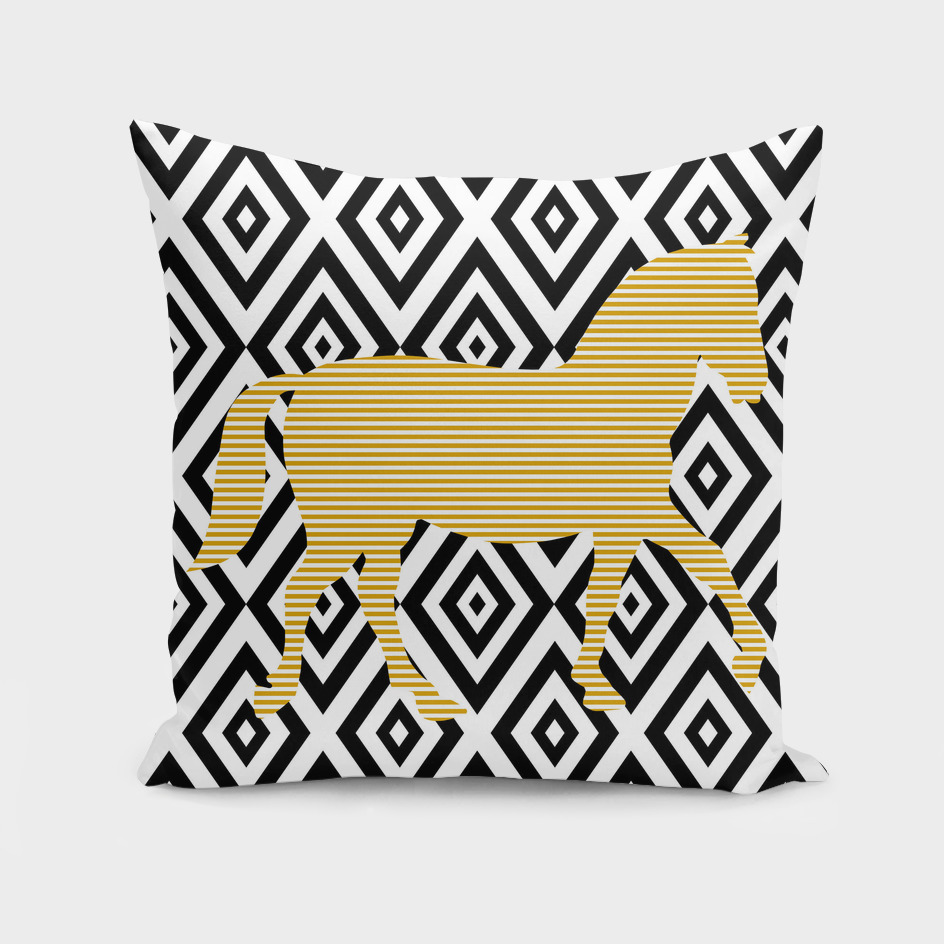 Horse - geometric pattern - beige and white.