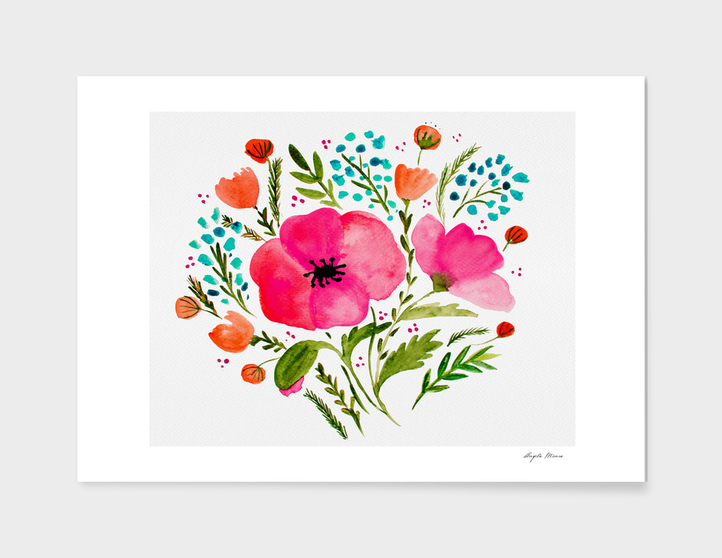 Flower bouquet with poppies - pink blue and orange