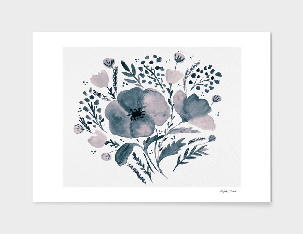 Flower bouquet with poppies - neutral