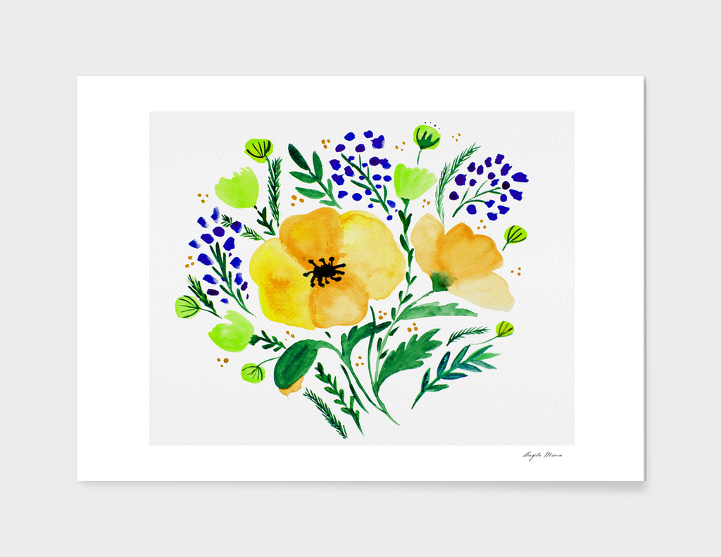 Flower bouquet with poppies - yellow and blue