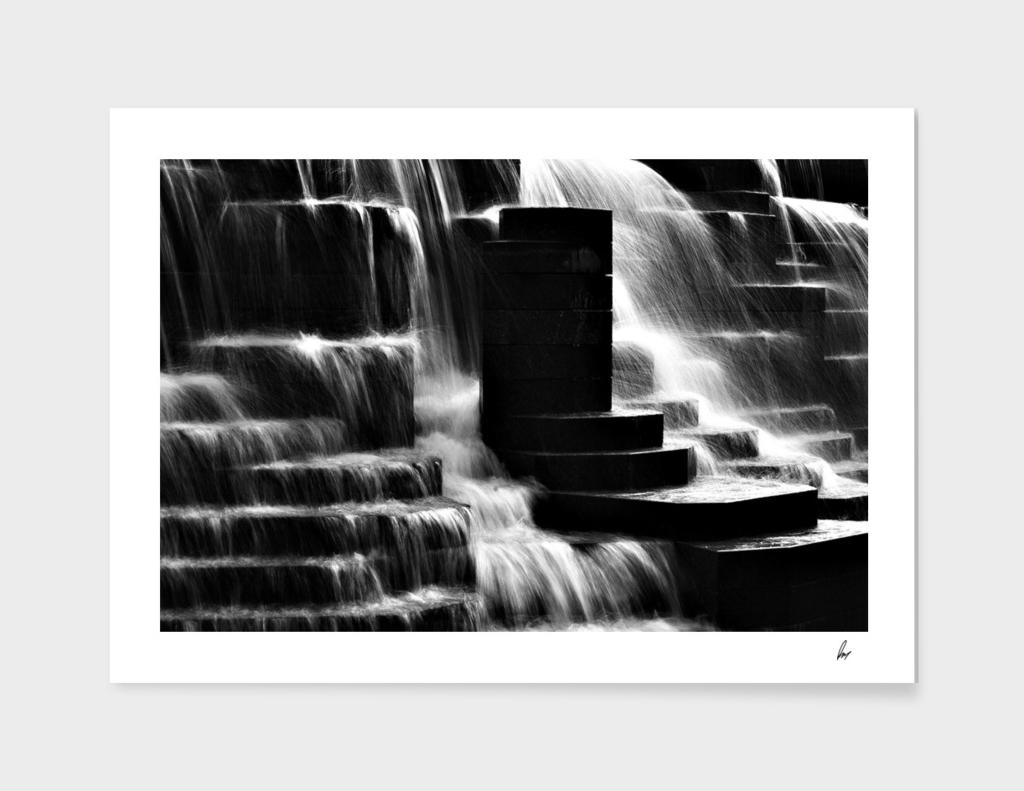 Waterfall Steps Black & White