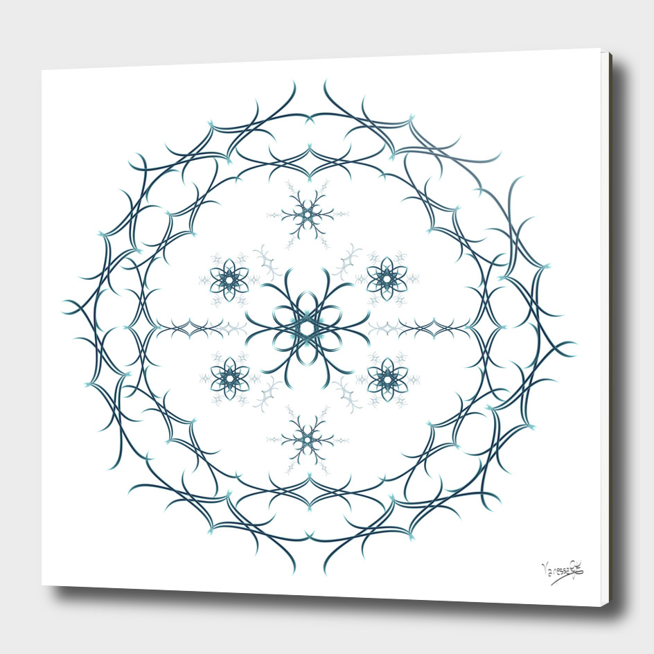 Mandala floral blue and white