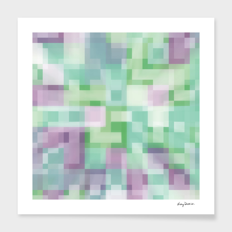 Soft Squares in Pastel Green and Purple