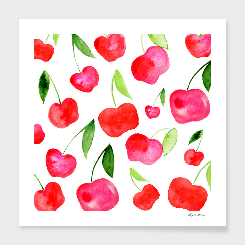 Watercolor cherries - red and green