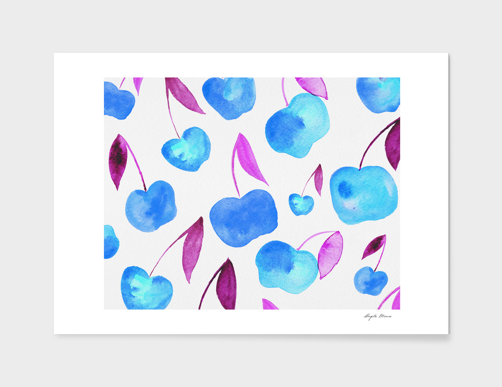 Watercolor cherries - blue and purple