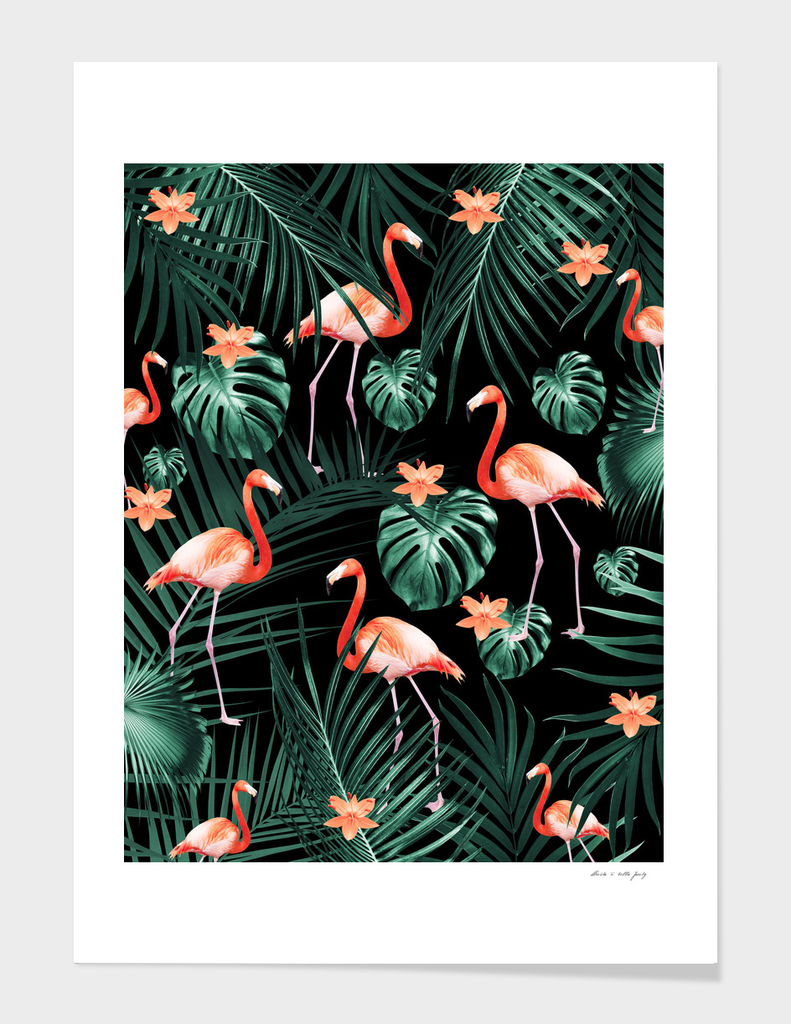 Tropical Flamingo Floral Night Pattern #1