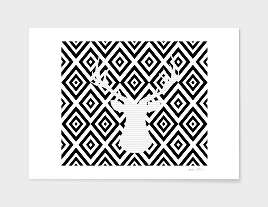 Deer - geometric pattern - gray and black.