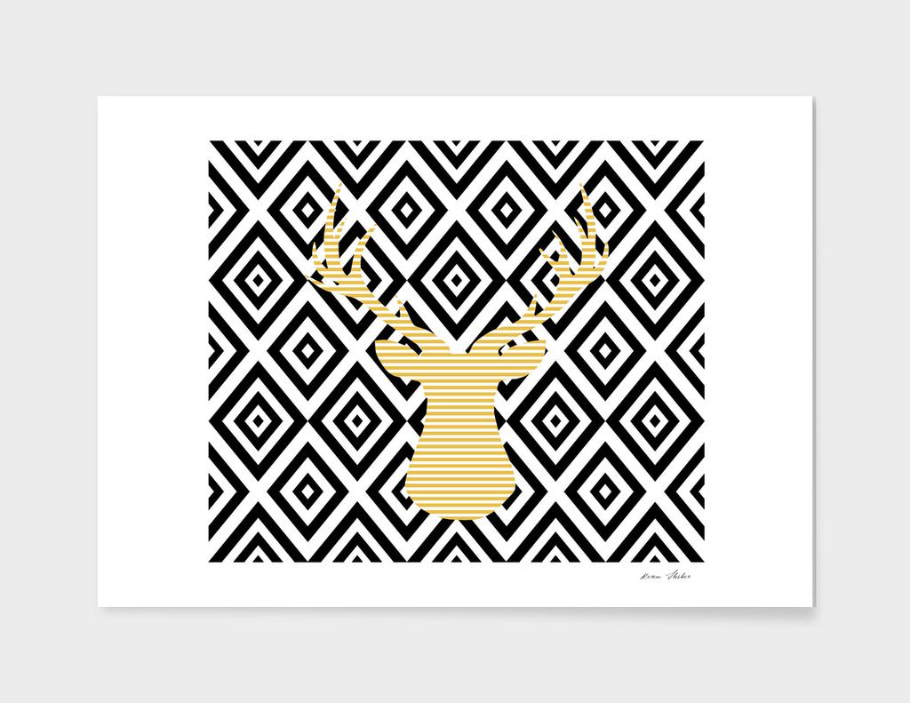 Deer - geometric pattern - beige and black.