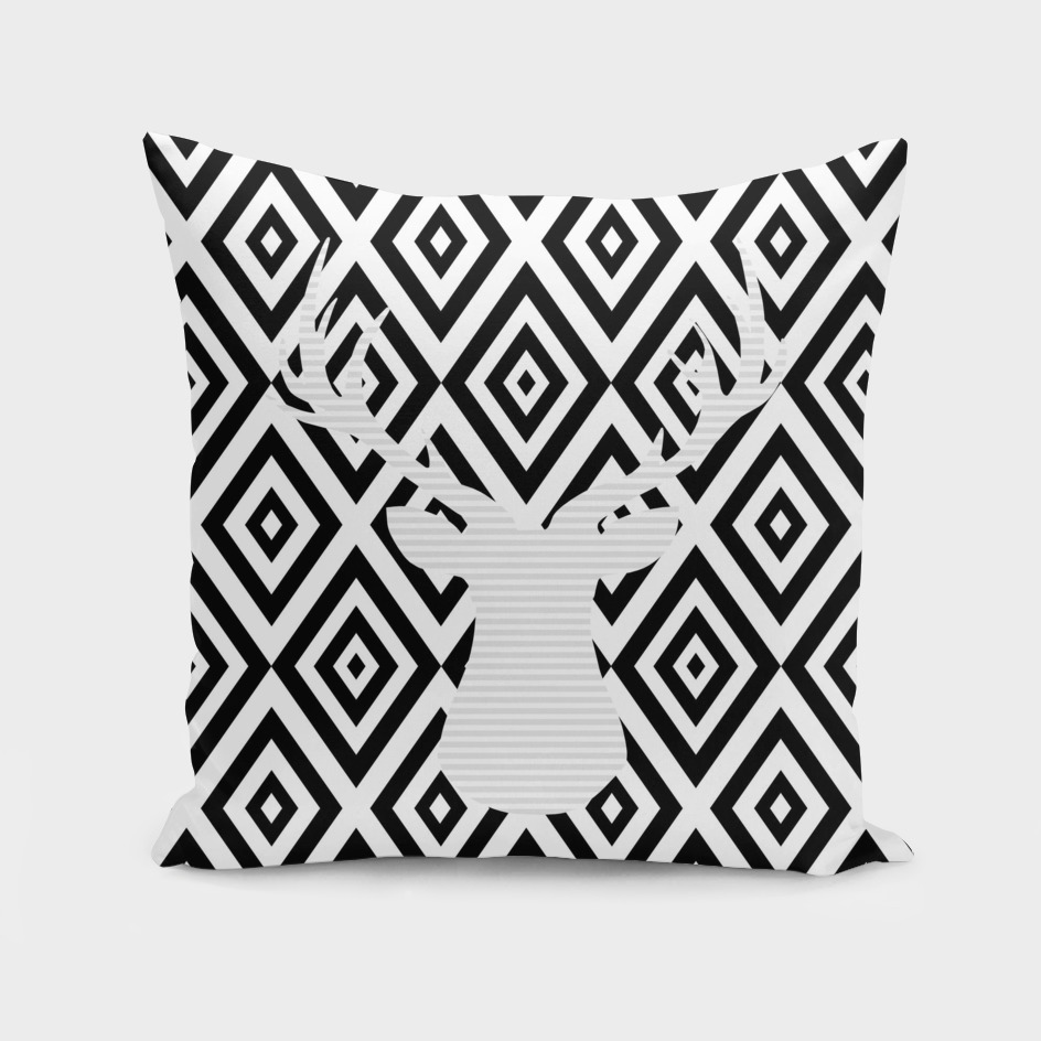 Deer - geometric pattern - gray and black.