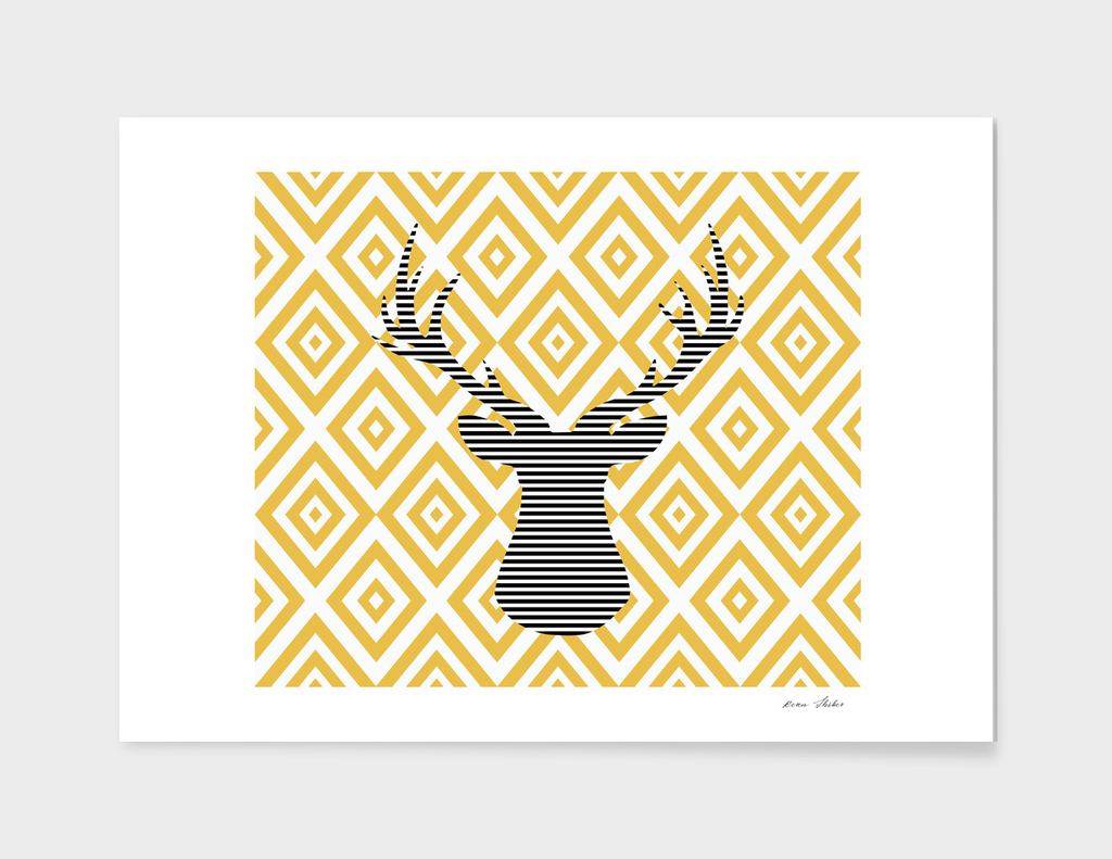 Deer - geometric pattern - beige.