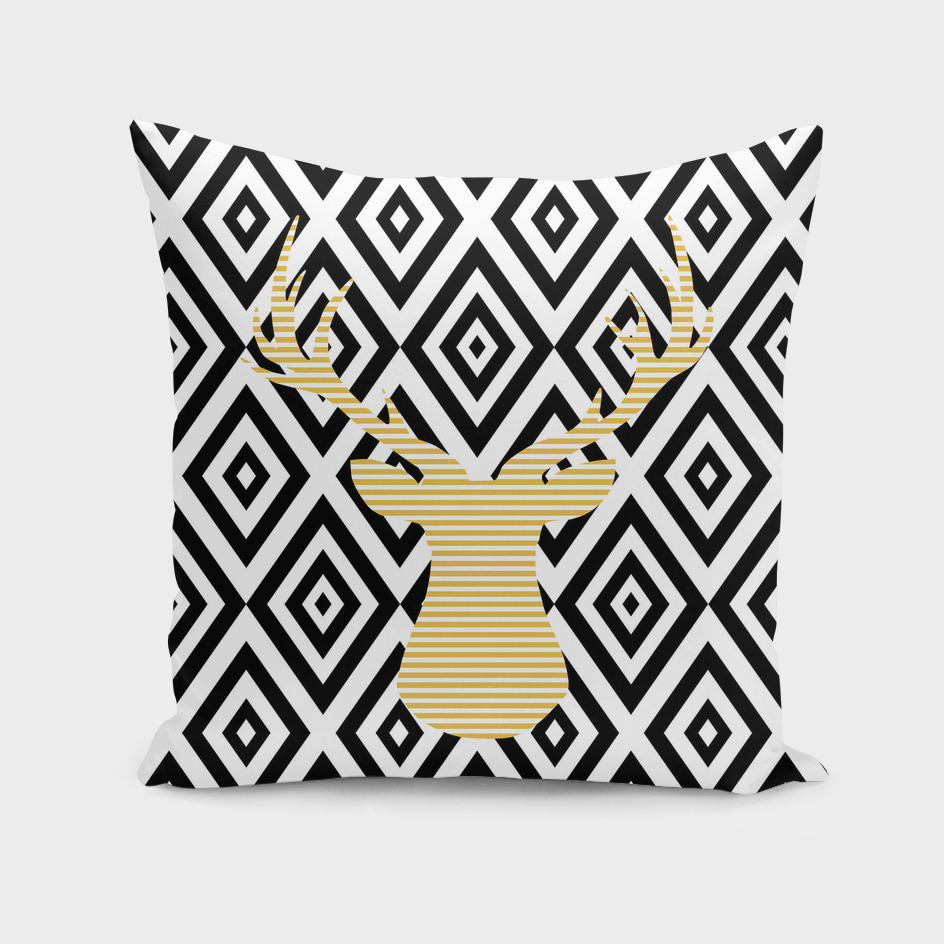 Deer - geometric pattern - beige and black.