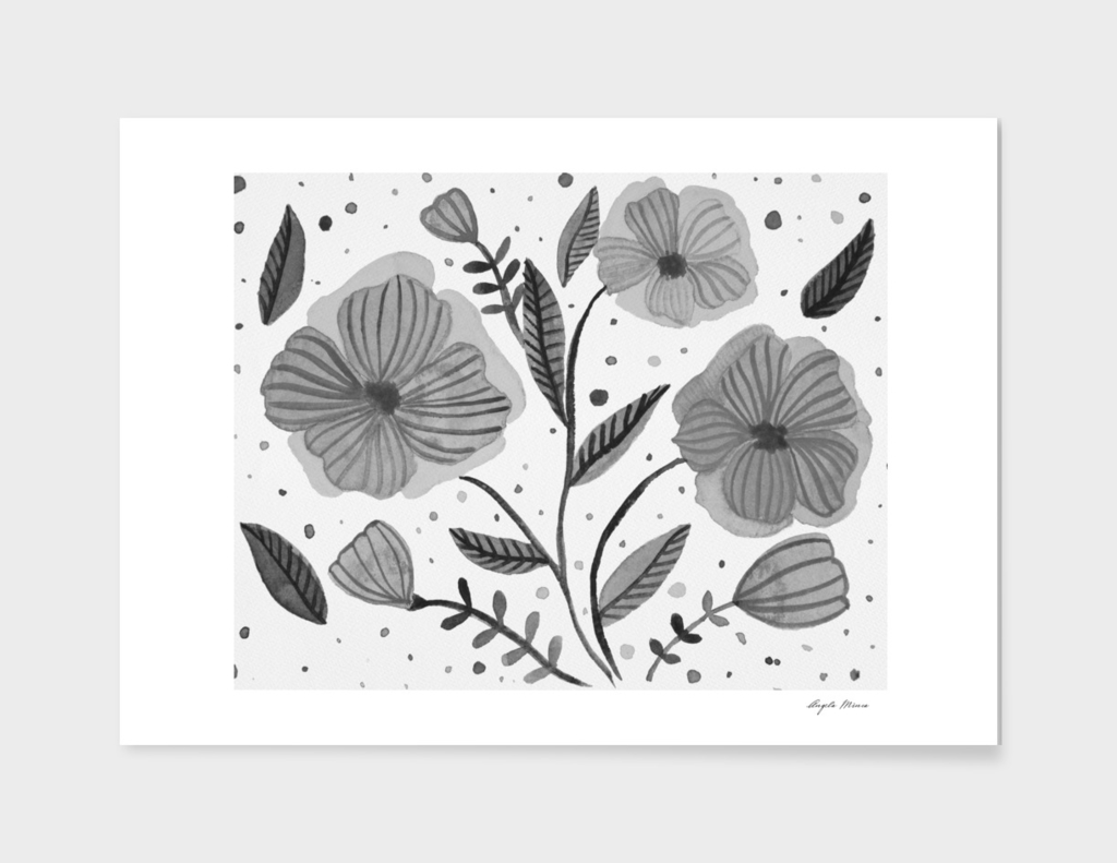 Watercolor flowers - black and white