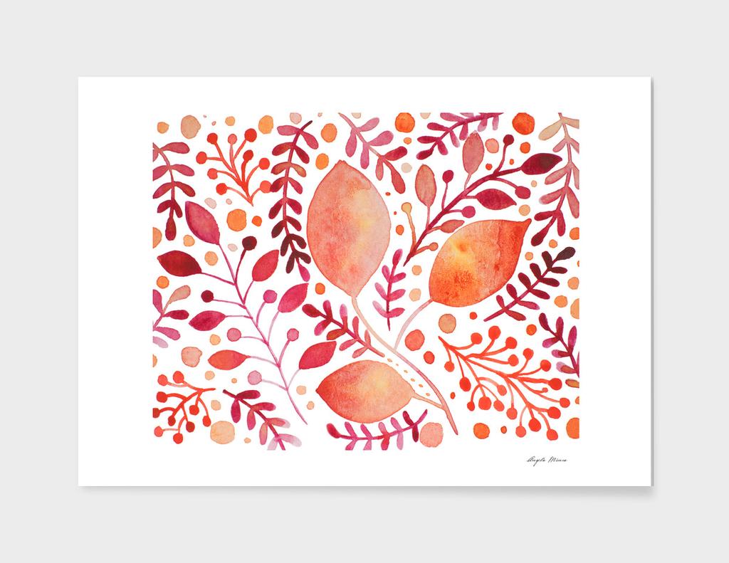 Watercolor foliage - autumn palette