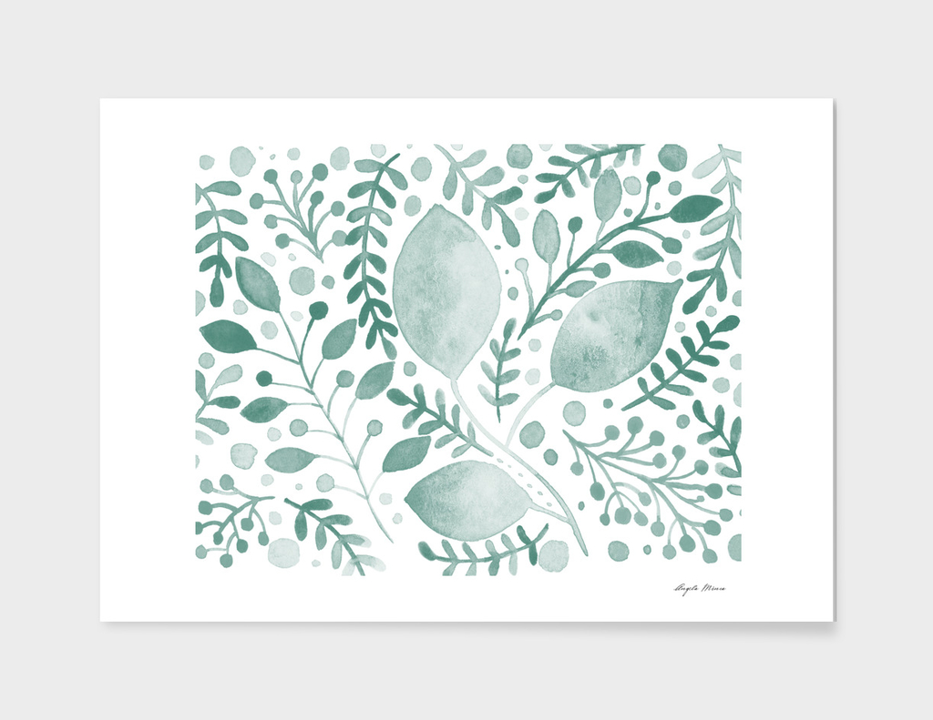 Watercolor foliage - teal