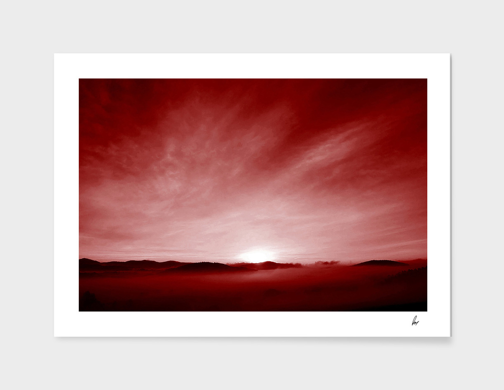 Red Mountaintop Clouds