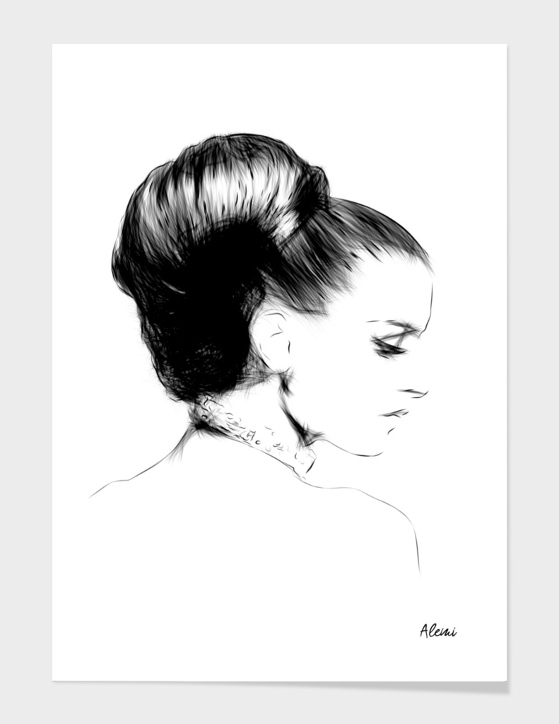 Woman Portrait Fashion Minimal Drawing