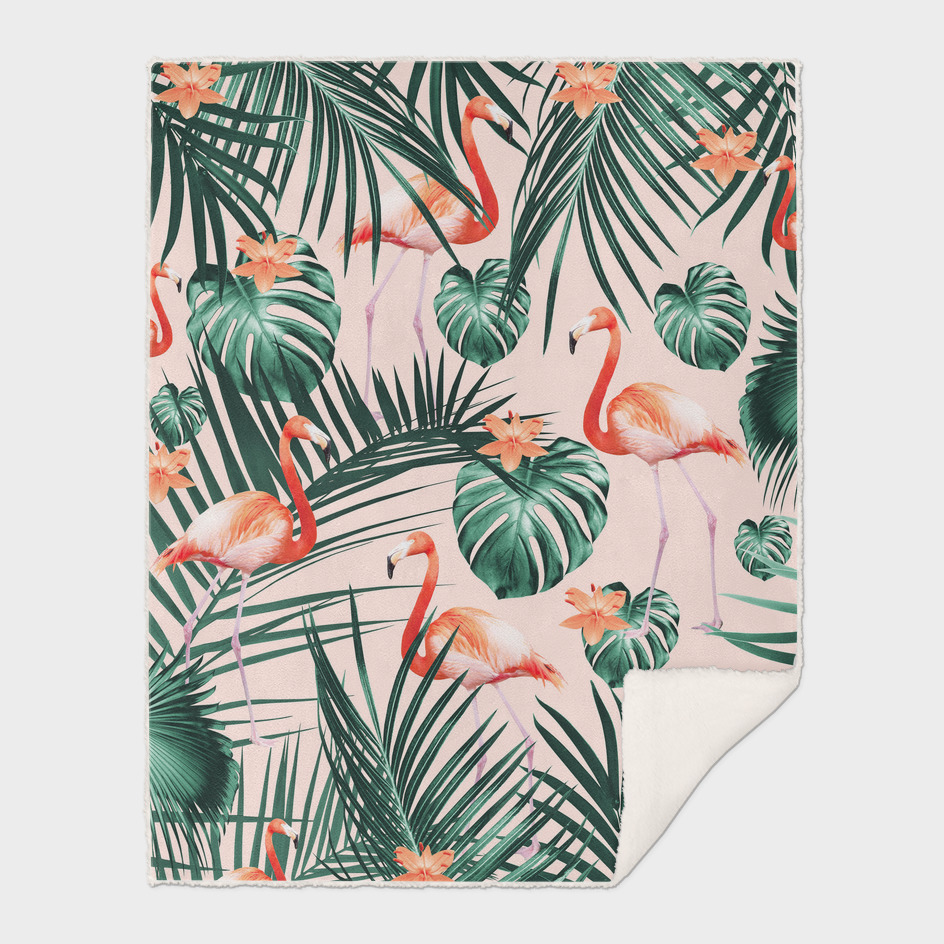Tropical Flamingo Floral Summer Pattern #1