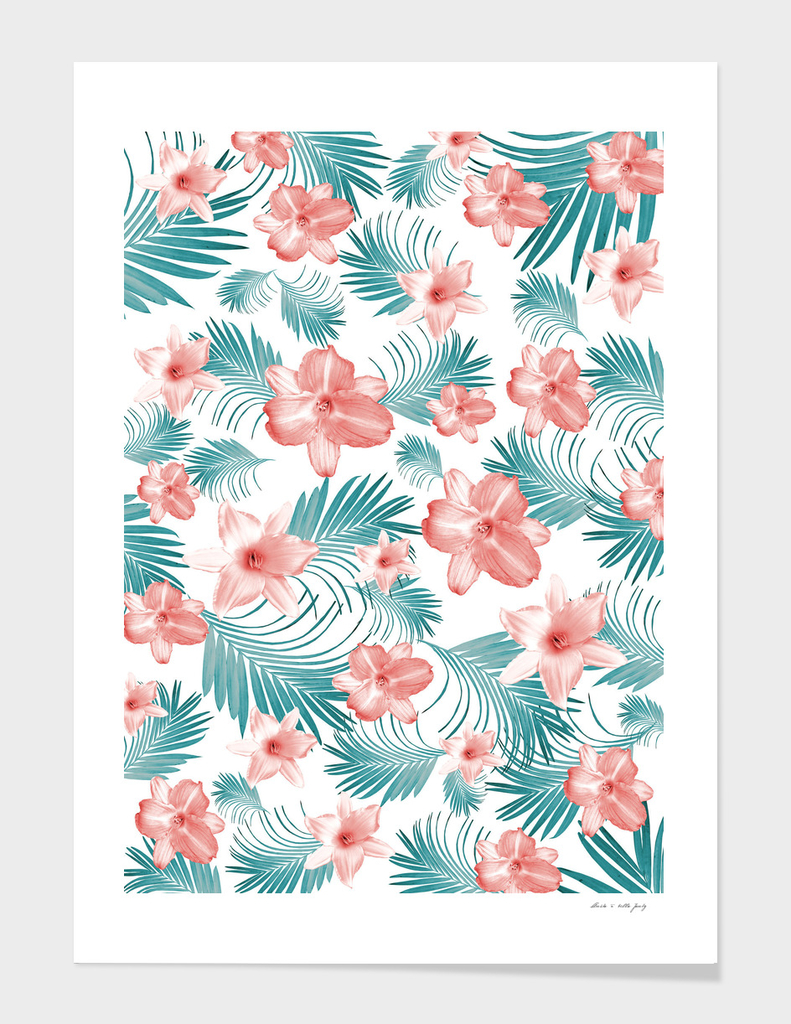 Tropical Flowers Palm Leaves Finesse #2