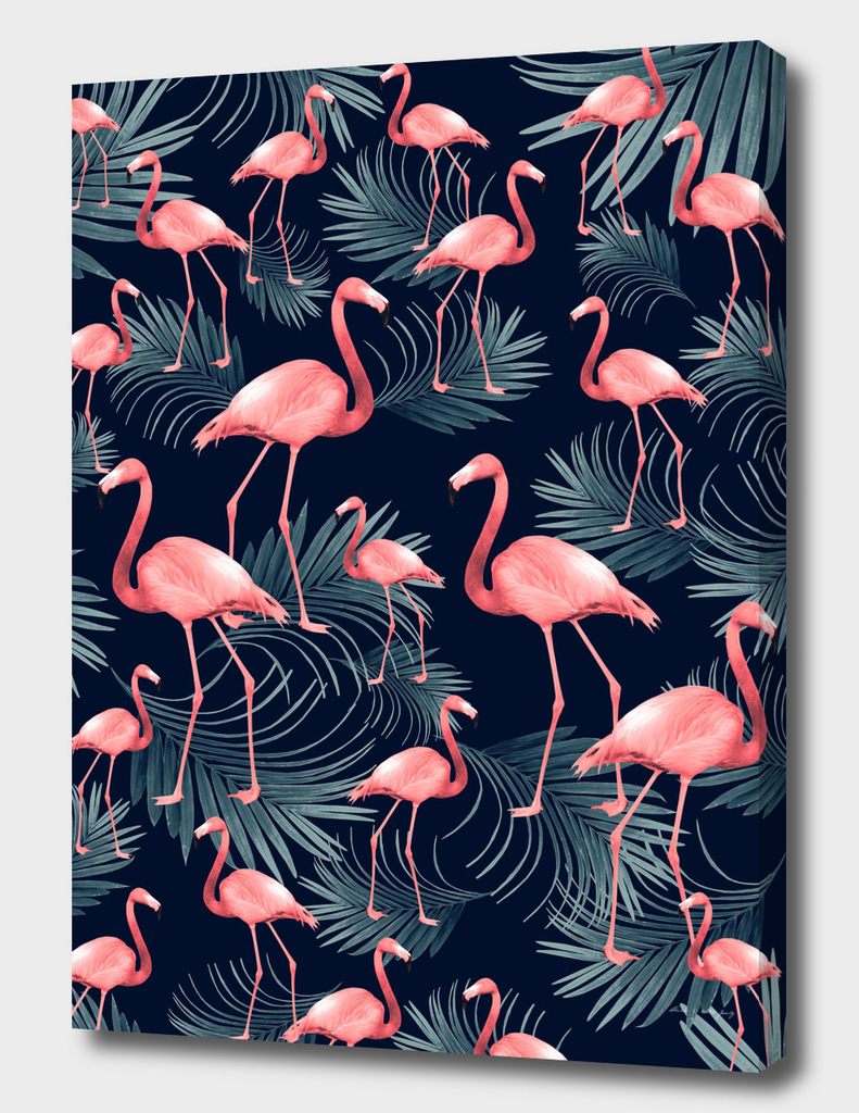 Summer Flamingo Palm Night Vibes #1