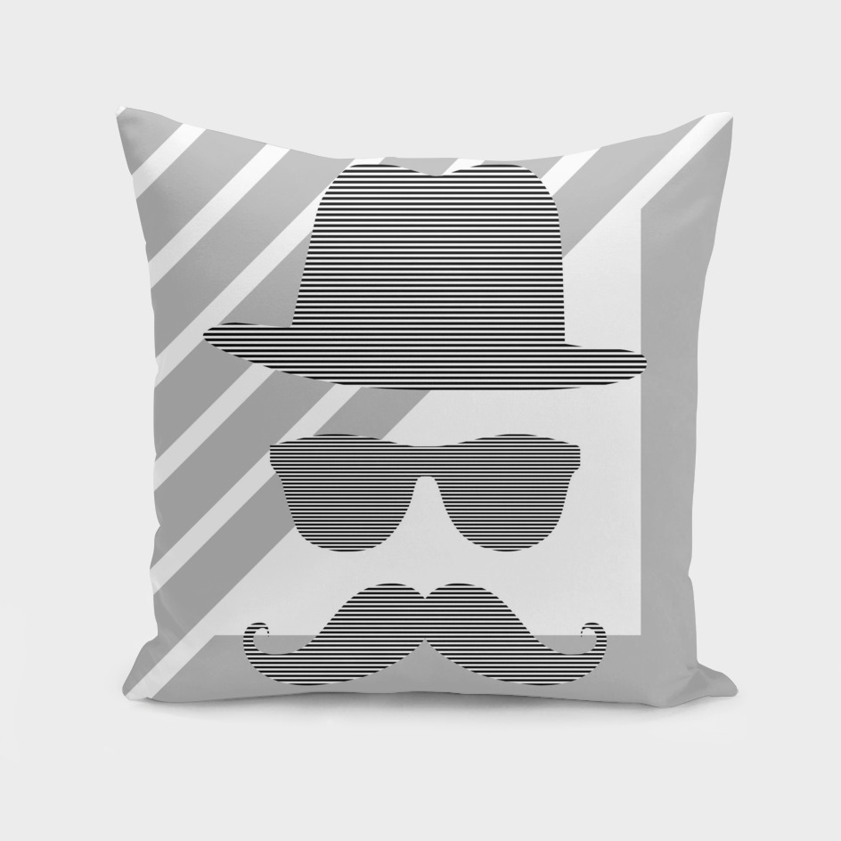 Man - hat, glasses, mustache - geometric.