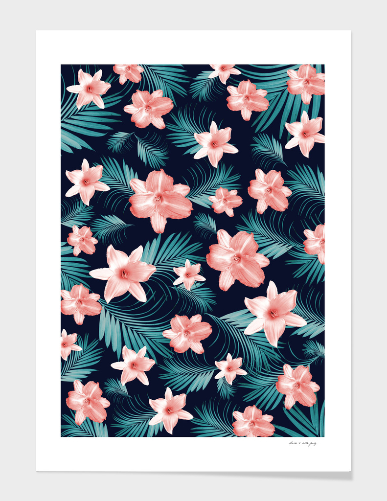 Tropical Flowers Palm Leaves Finesse #1