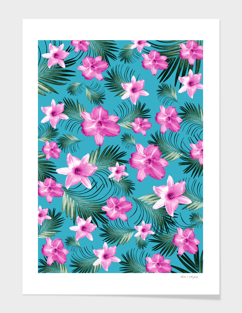 Tropical Flowers Palm Leaves Finesse #3