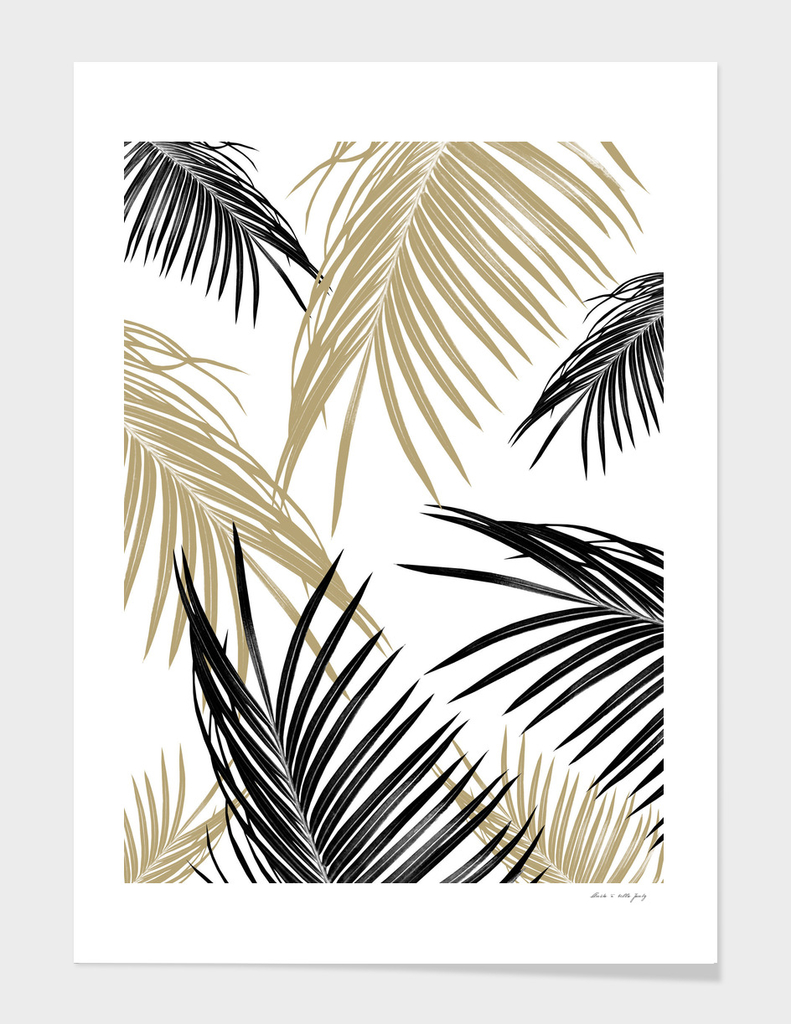 Gold Black Palm Leaves Dream #1