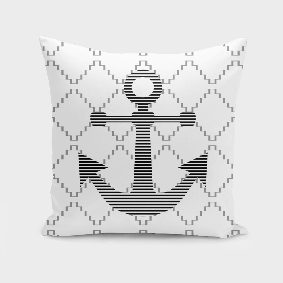 Anchor - geometric pattern - gray.