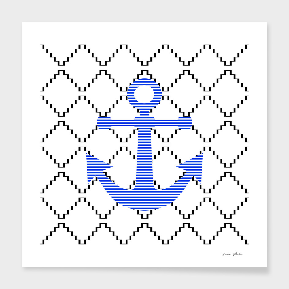 Anchor - geometric pattern - blue.