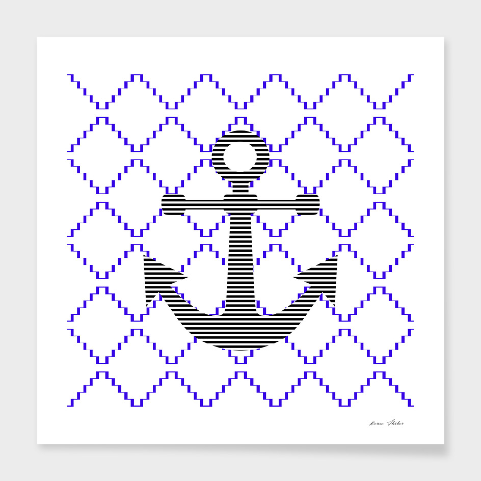 Anchor - geometric pattern - blue.