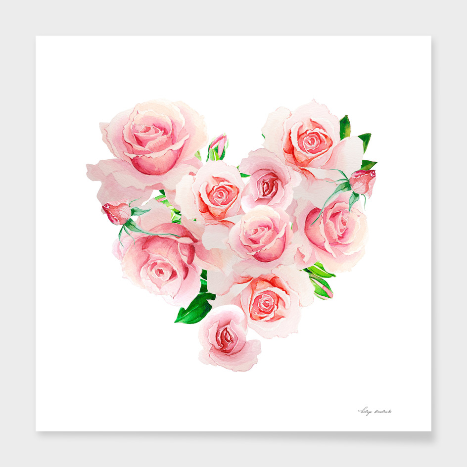 heart roses watercolor