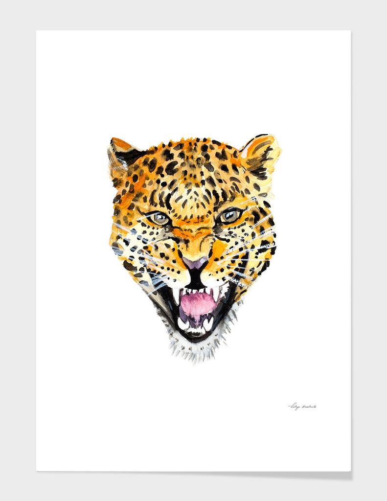 leopard head watercolor
