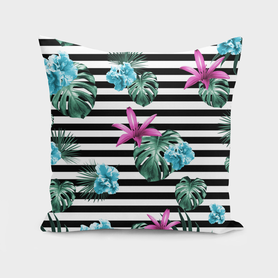 Tropical Florals & Foliage on Stripes #2