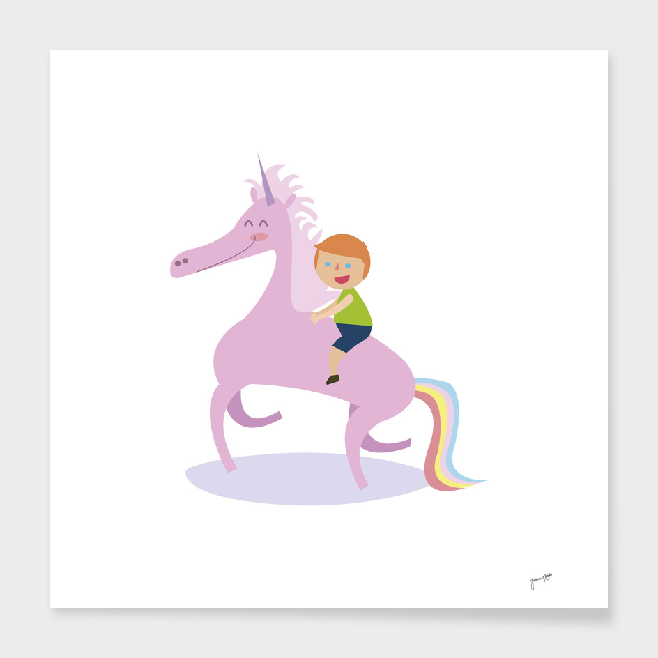 Happy Unicorn and Boy
