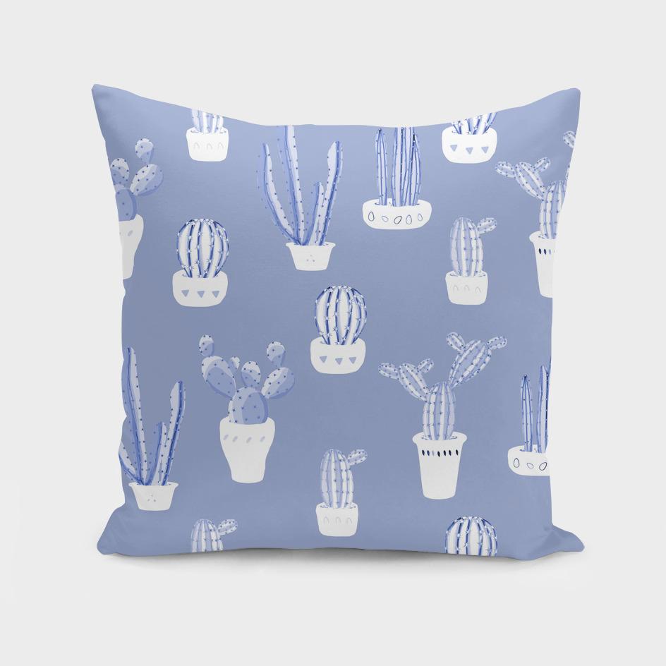 Elegant Blue Cacti in Pots Pattern
