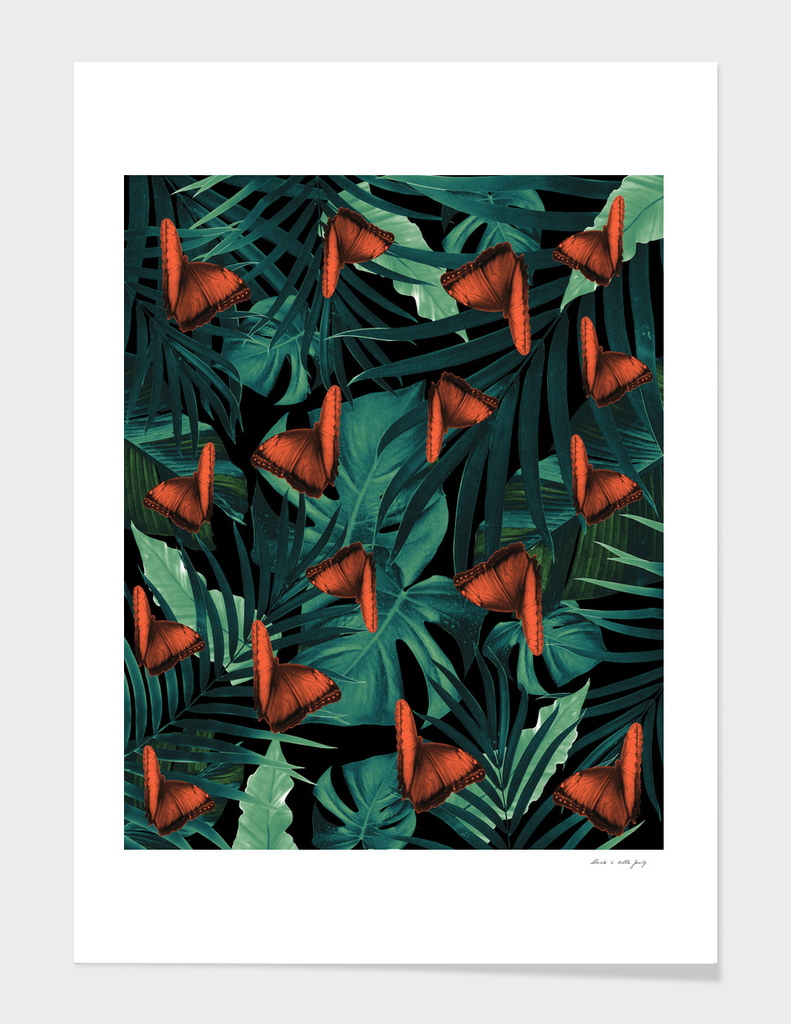 Tropical Butterfly Jungle Night Leaves Pattern #2