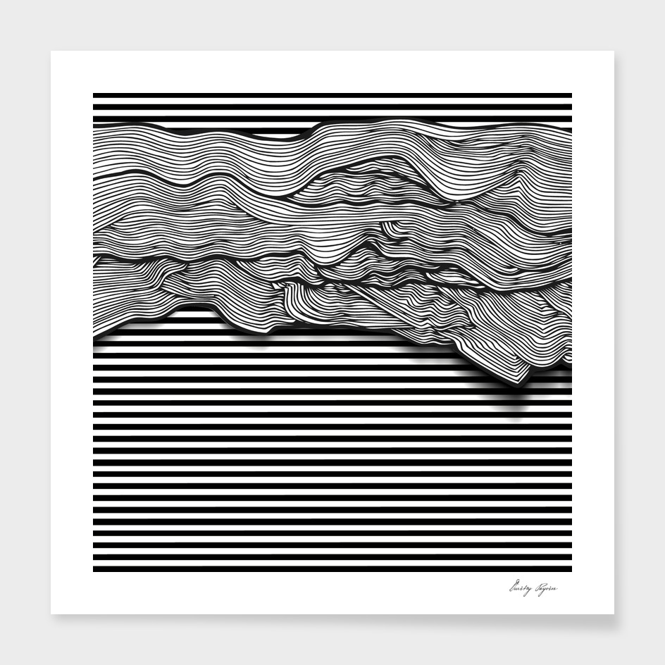 Abstract black and white lines design elements