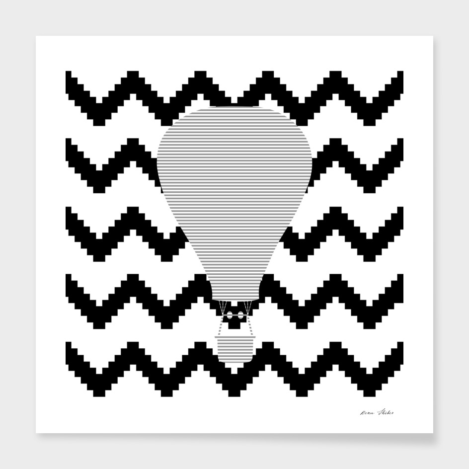 Air Balloon - geometric pattern - gray, black and white.