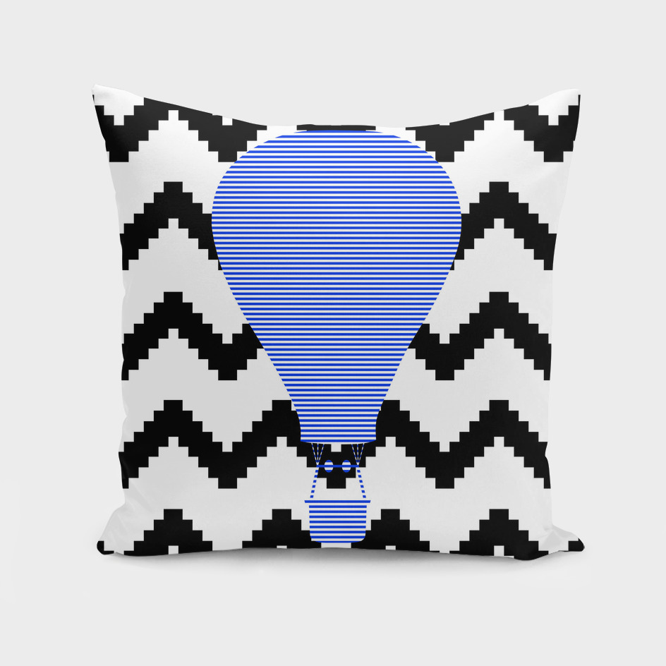 Air Balloon - geometric pattern - blue and white.