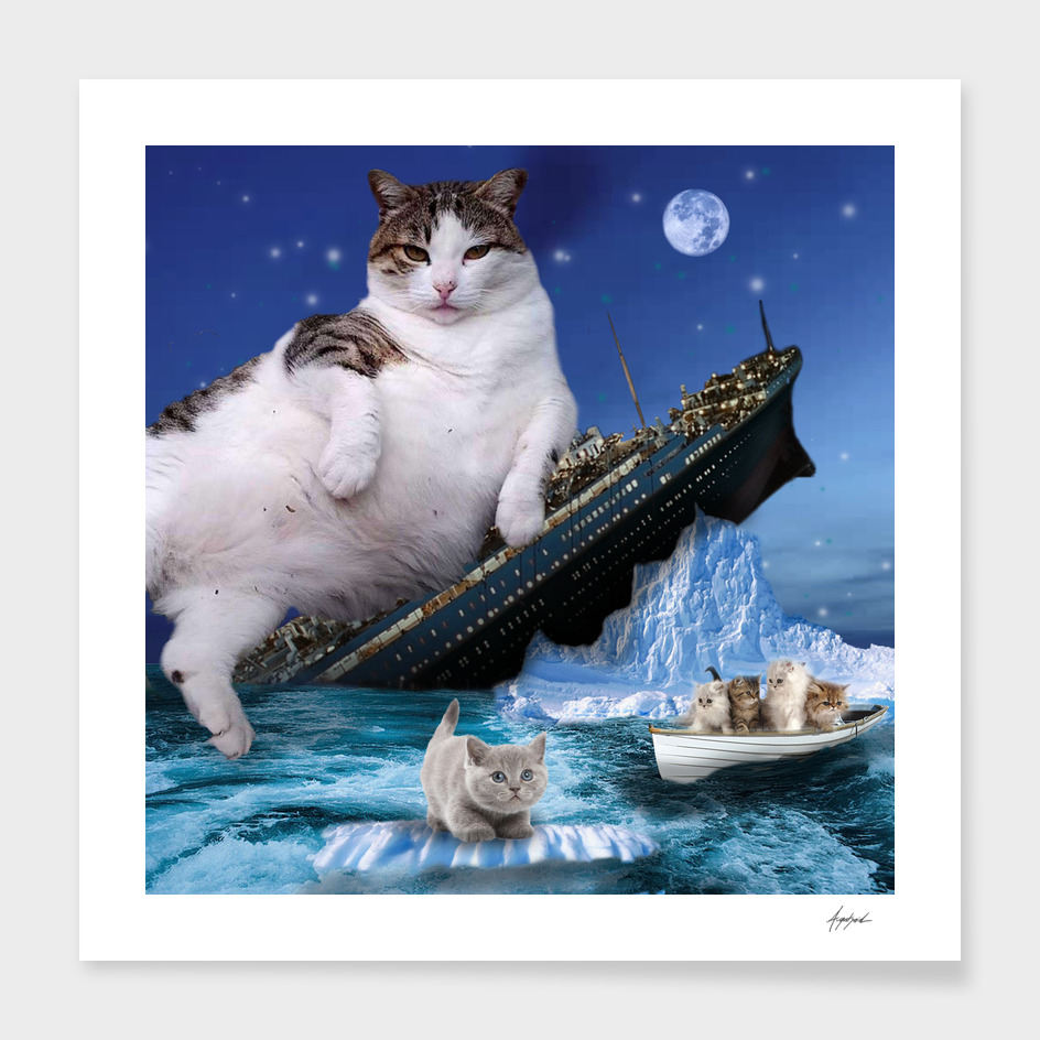 Titanic Cat Sinking Kitty Fat Cats Rescue Movie Famous