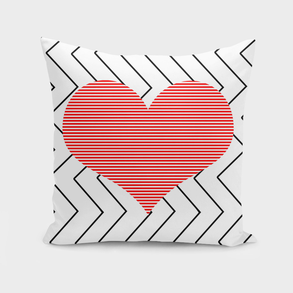Heart - zigzag - red.