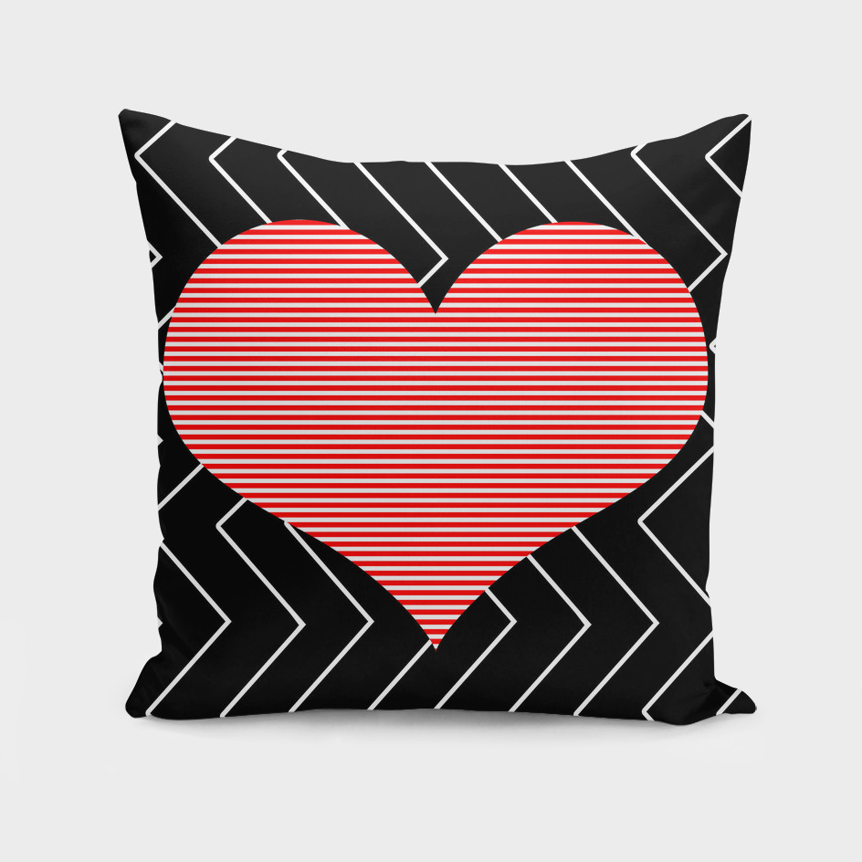 Heart - zigzag - black and red.