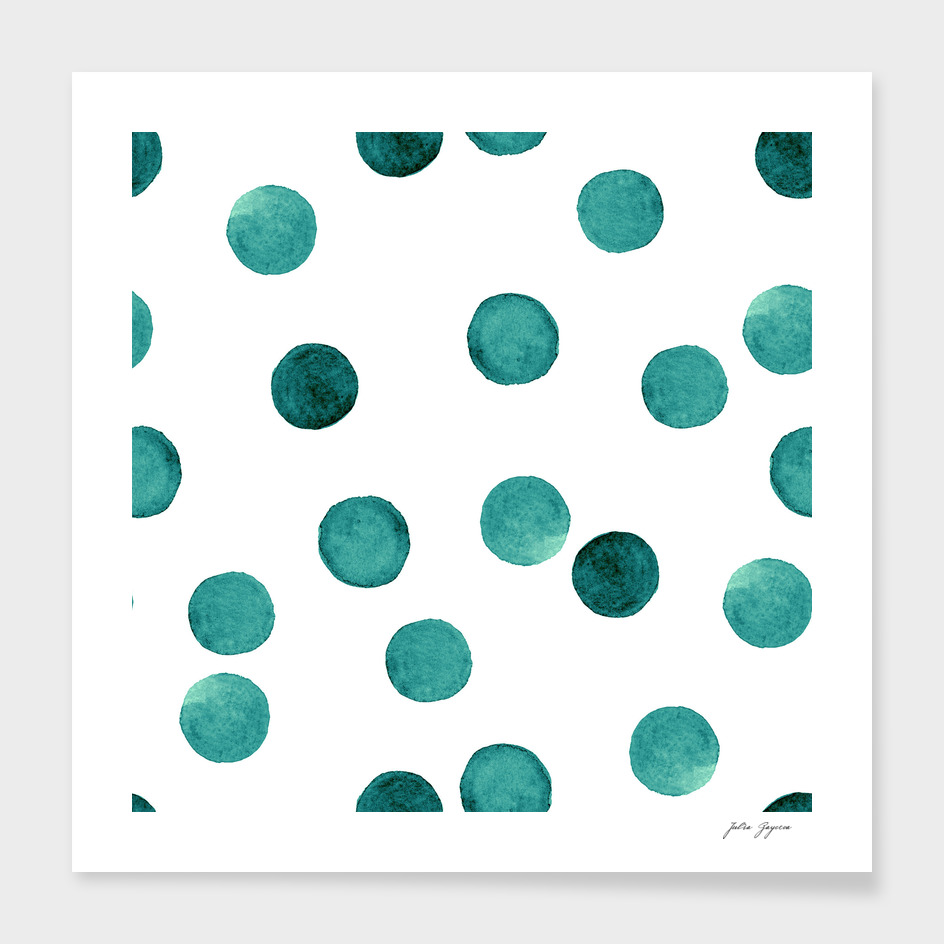 Watercolor green polka dots circles white pattern